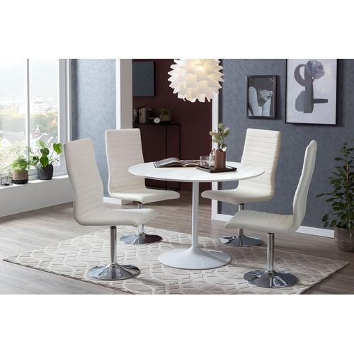 SalesFever Esstisch, Tischplatte in Marmoroptik weiß Esstisch Esstische rund oval Tische