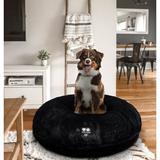 Bessie + Barnie Signature Short Shag Luxury Extra Plush Faux Fur Bagel Dog & Cat Bed, Black, Large