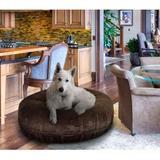Bessie + Barnie Signature Short Shag Luxury Extra Plush Faux Fur Bagel Dog & Cat Bed, Brown, X-Large