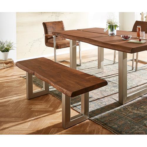 DELIFE Sitzbank Live-Edge 135x40 Akazie Braun Gestell breit, Bänke, Baumkantenmöbel, Massivholzmöbel, Massivholz