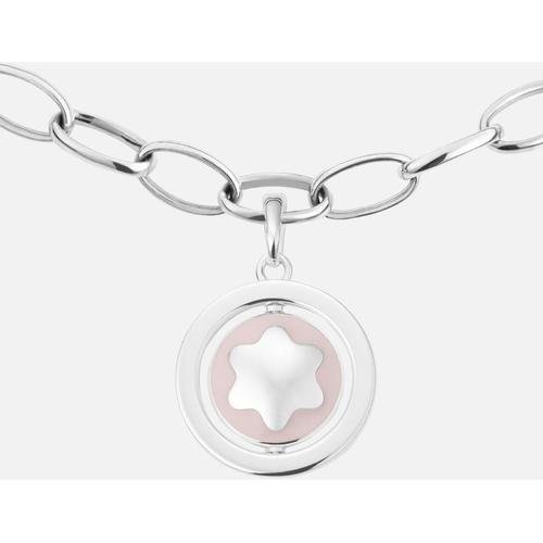 Montblanc Star Signet Halskette Aus Silber Mit Rosafarbenem Lack