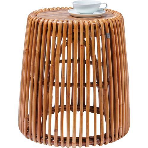 TOM TAILOR Beistelltisch T-RATTAN SIDE TABLE HIGH, hoher aus Rattan mit Platte recycletem Teakholz beige Beistelltische Tische