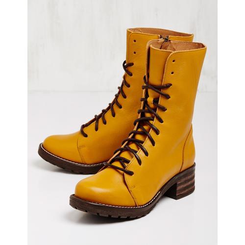 Brako Damen Leder-Stiefeletten Marga senf Boots