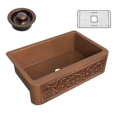 Tripolis Farmhouse Handmade Copper 33 in. 0-Hole Single Bowl Kitchen Sink with Floral Design Panel in Polished Antique Copper - ANZII SK-008