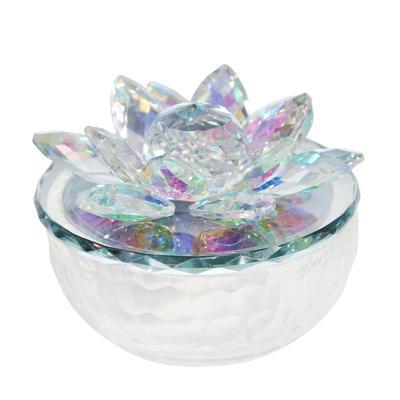 """""""Crystal Lotus 5"""""""" Trinket Jar,Rainbow - Sagebrook Home 14856-01"""""""