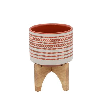 """""""5"""""""" Aztec Planter With Wood Stand, Red - Sagebrook Home 15800-01"""""""