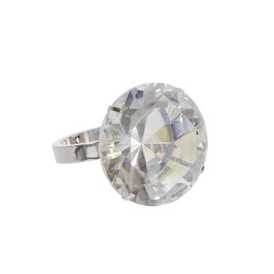 """Glass 4"""" Diamond Ring Decor, Rainbowithsilver - Sagebrook Home 15380"""