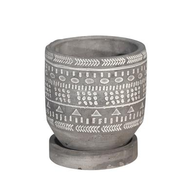 """5 """" Tribal Pattern Planter Withsaucer, Gray - Sagebrook Home 14769-01"""