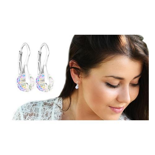 Ah! Jewellery Ohrringe mit Swarovski®-Kristallen: 3 Paar/ Aurore Boreale + Clear + Silver Night