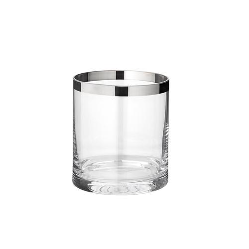 EDZARD Windlicht Molly, Laterne aus Kristallglas mit Platinrand, Kerzenhalter für Stumpenherzen, Höhe 10 cm, Ø 8,5 cm farblos Kerzen Laternen Wohnaccessoires