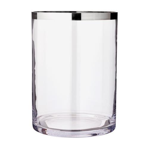 EDZARD Windlicht Molly, Laterne aus Kristallglas mit Platinrand, Kerzenhalter für Stumpenherzen, Höhe 39 cm, Ø 29 cm farblos Kerzen Laternen Wohnaccessoires