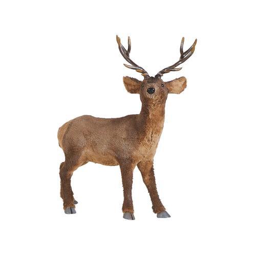 Weihnachtsdekoration Rentier Figur Braun Fell-Imitat stehend Tischdeko Bodendeko Fensterdeko