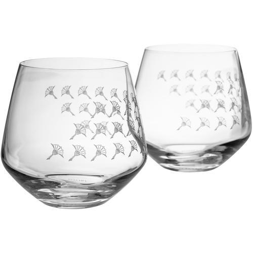 Joop Tumbler-Glas JOOP FADED CORNFLOWER, (Set, 2 tlg.), hochwertiges Kristallglas mit Kornblumen-Verlauf als Dekor farblos Wassergläser Saftgläser Gläser Glaswaren Haushaltswaren