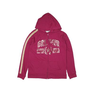 The Children's Place - The Children's Place Zip Up Hoodie: Pink Solid Tops - Size 16