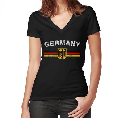 German Flag Shirt - German Emblem & Germany Flag Shirt Women's Fitted V-Neck T-Shirt