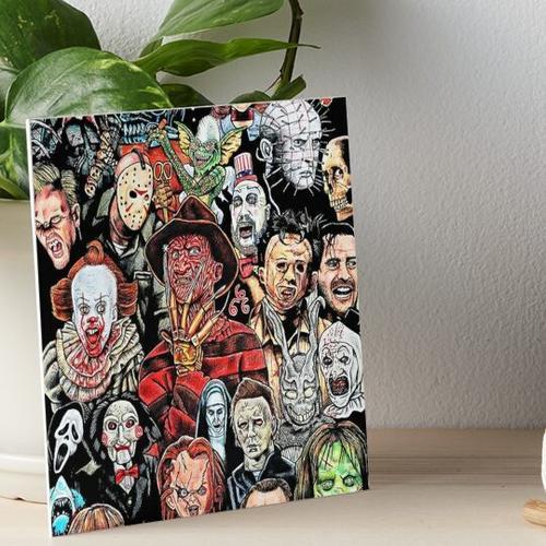 Horrorfilm-Puzzle-Collage, Galeriedruck