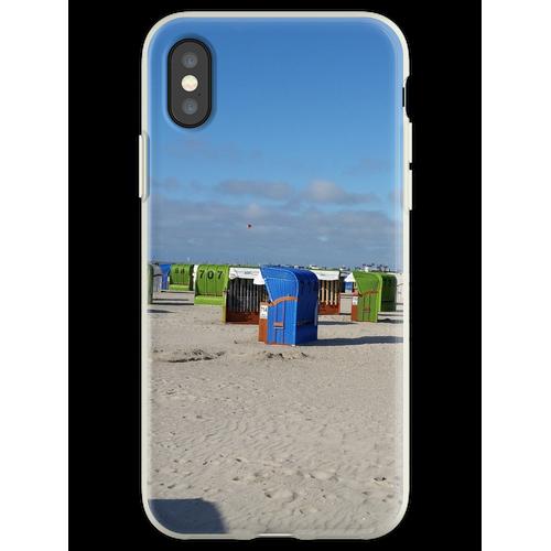 Nordsee Strand mit Strandkörben Flexible Hülle für iPhone XS