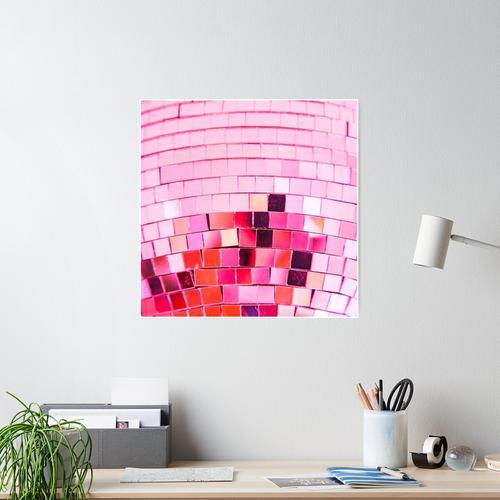 rosa Discokugel Poster