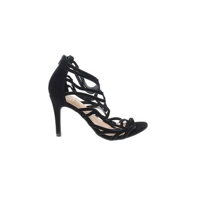 Material Girl Heels: Black Solid Shoes - Size 6