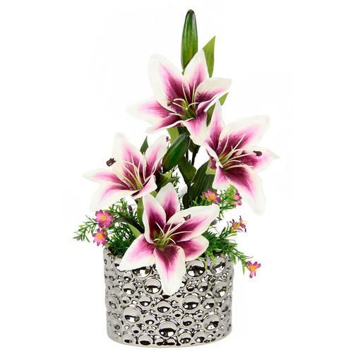 Kunstpflanze Lilien, I.GE.A., Höhe 44 cm, Arrangement im Topf