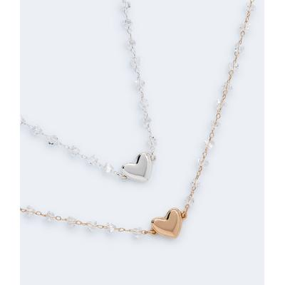 Aeropostale Girls' Best Friends Heart & Clear Stone Necklace 2-Pack - Multi-colored - Size One Size - Metal