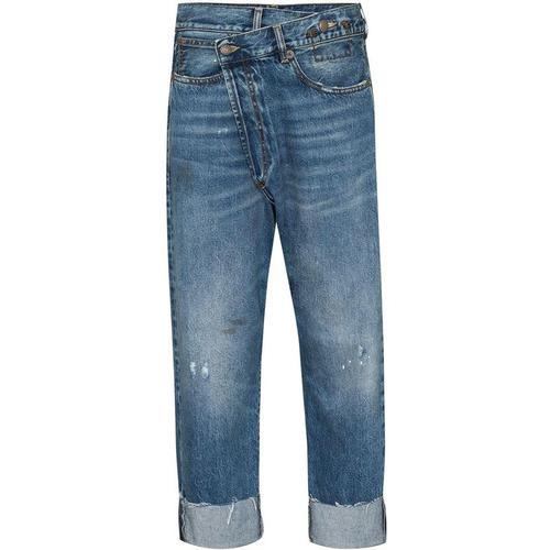 R13 Asymmetrische Jeans-Shorts