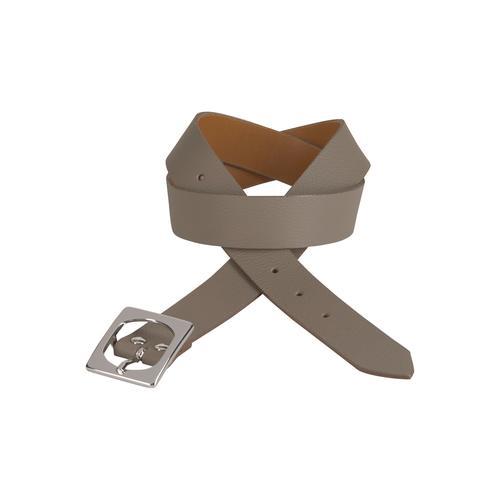 J.Jayz Ledergürtel, Eckige Gürtelschnalle in silberfarben glänzend braun Damen Ledergürtel Gürtel Accessoires