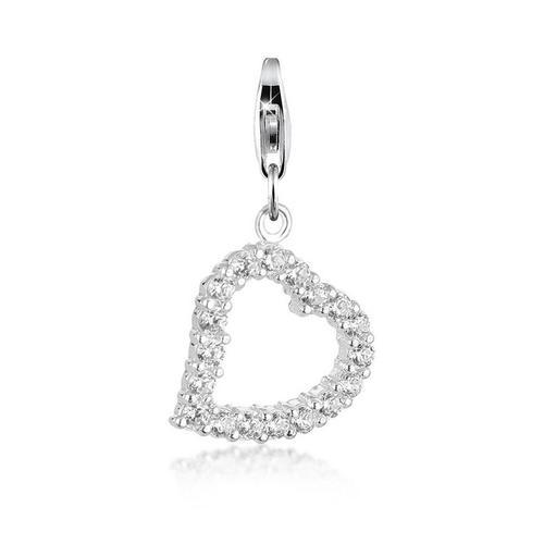Nenalina Charm-Einhänger »Herz Anhänger-Charm Zirkonia Kristalle 925 Silber«