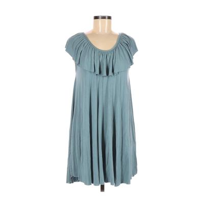 Final Touch Casual Dress - A-Line: Blue Solid Clothing - Used - Size Medium