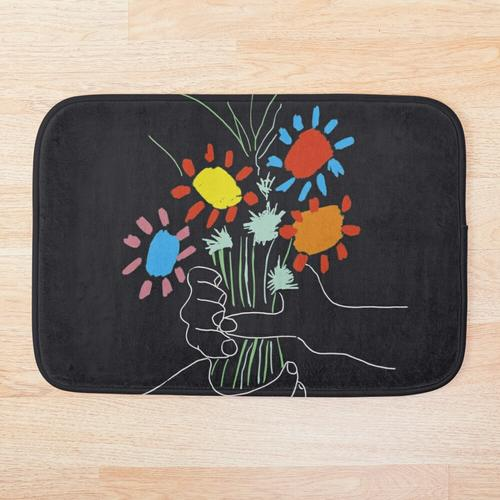 Blumenstrauß - Picasso Line Art Badematte