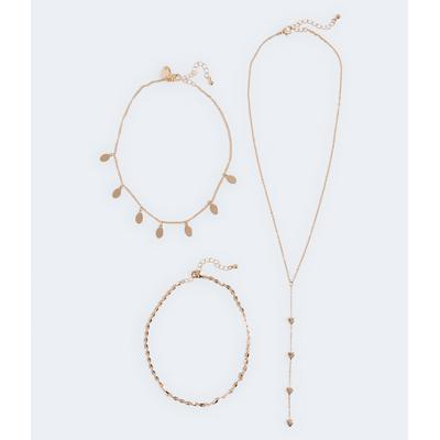 Aeropostale Girls' Heart Lariat Necklace 3-Pack - Gold - Size One Size - Metal