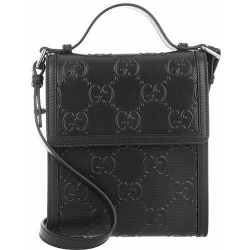 Gucci Men GG Embossed Messenger Bag Leather