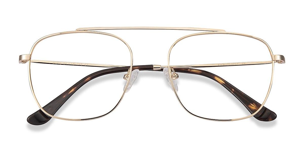 Unisex Aviator Golden Metal Prescription eyeglasses - EyeBuydirect's Moxie