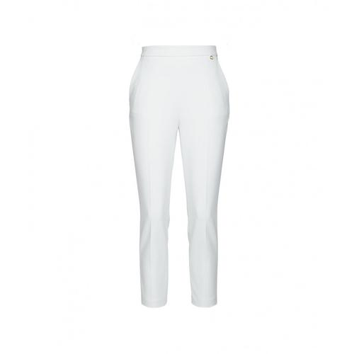 Elisabetta Franchi Damen Schmale Hose aus Crépe Weiß