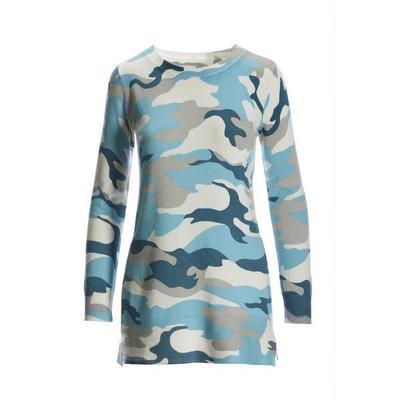 Boston Proper - Camo Printed Tunic Side-Slit Sweater - Blue Multi - Large