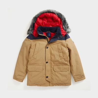 Nautica Men's Sustainably Crafted Tempasphere Colorblock Parka Dark Brown, L
