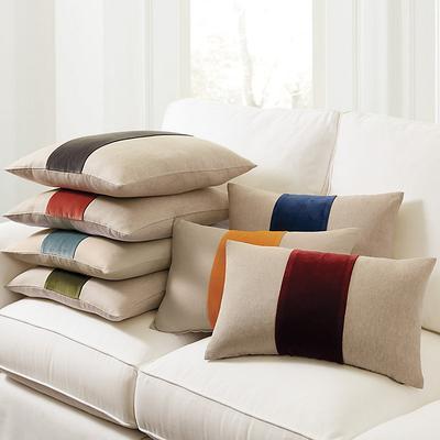 """Velvet Colorblock Linen Pillow Natural/Sage 12"""" x 20"""" - Ballard Designs"""