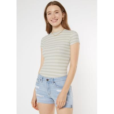 Rue21 Womens Sage Green Striped Super Soft Ribbed Knit Tee - Size S