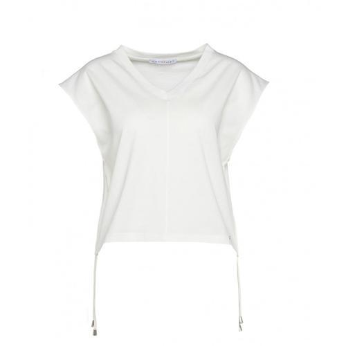 Kaos Damen T-Shirt mit Kordelzug Weiß
