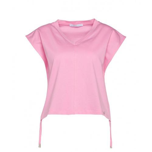 Kaos Damen T-Shirt mit Kordelzug Pink