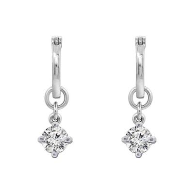 J'admire Silver Rhodium Plated Sterling Silver Round Cut Cubic Zirconia Accent Drop Huggie Hoop Earrings
