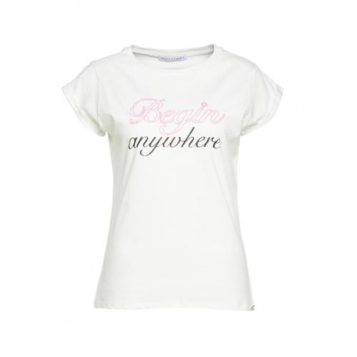 Kaos Damen T-Shirt mit Schriftzug Weiß