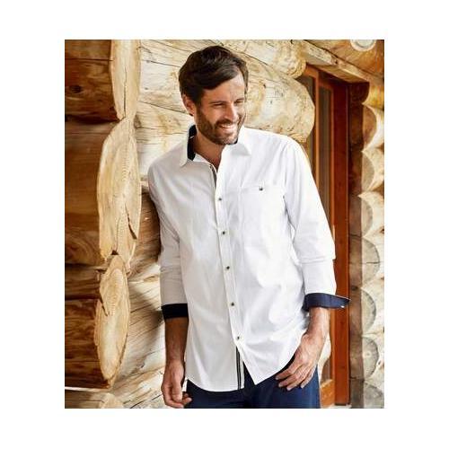 Weißes Casual-Hemd aus Popelin