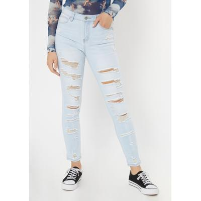 Rue21 Womens Light Wash Ripped Recycled Jeggings - Size 11