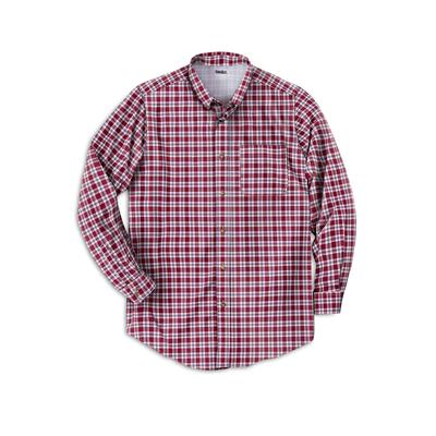 Men's Big & Tall Wrinkle Resistant Long-Sleeve Sport Shirt by KingSize in Rich Burgundy Check (Size 9XL)