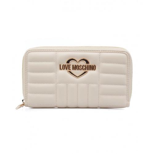 Love Moschino Damen Gesteppte Brieftasche mit Logo Beige