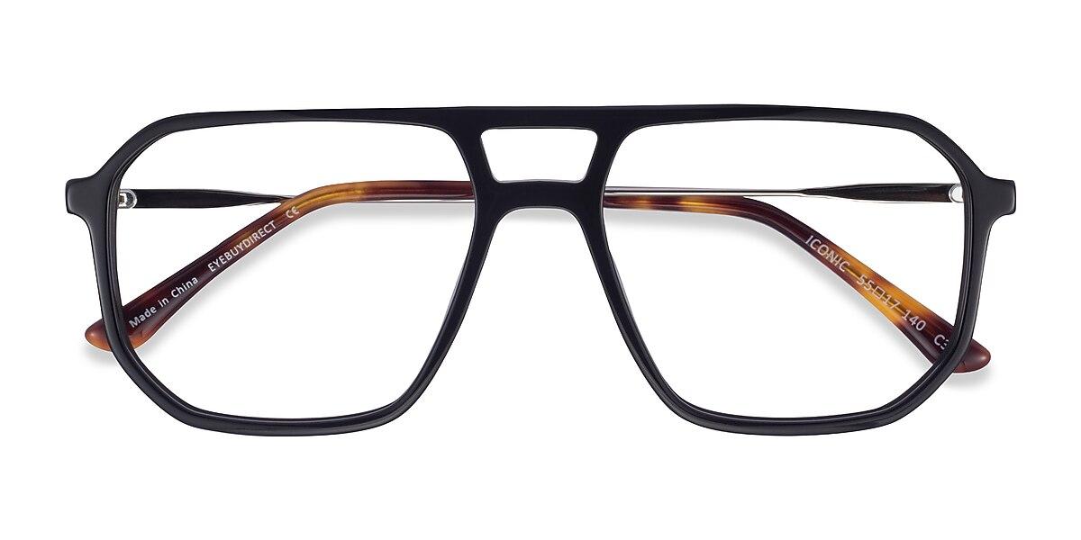 Unisex Aviator Black & Silver Acetate Prescription eyeglasses - EyeBuydirect's Iconic