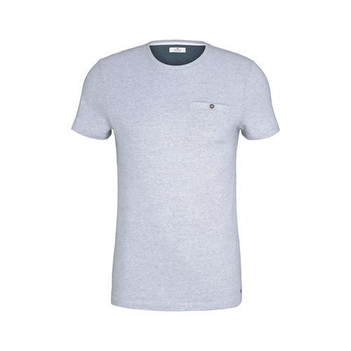 TOM TAILOR Herren gepunktetes T-Shirt, weiß, Gr.S