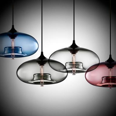 Lampe suspendue en verre coloré ...