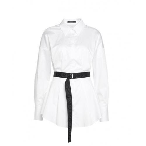 Guess Damen Bluse mit Logo-Gürtel Weiß